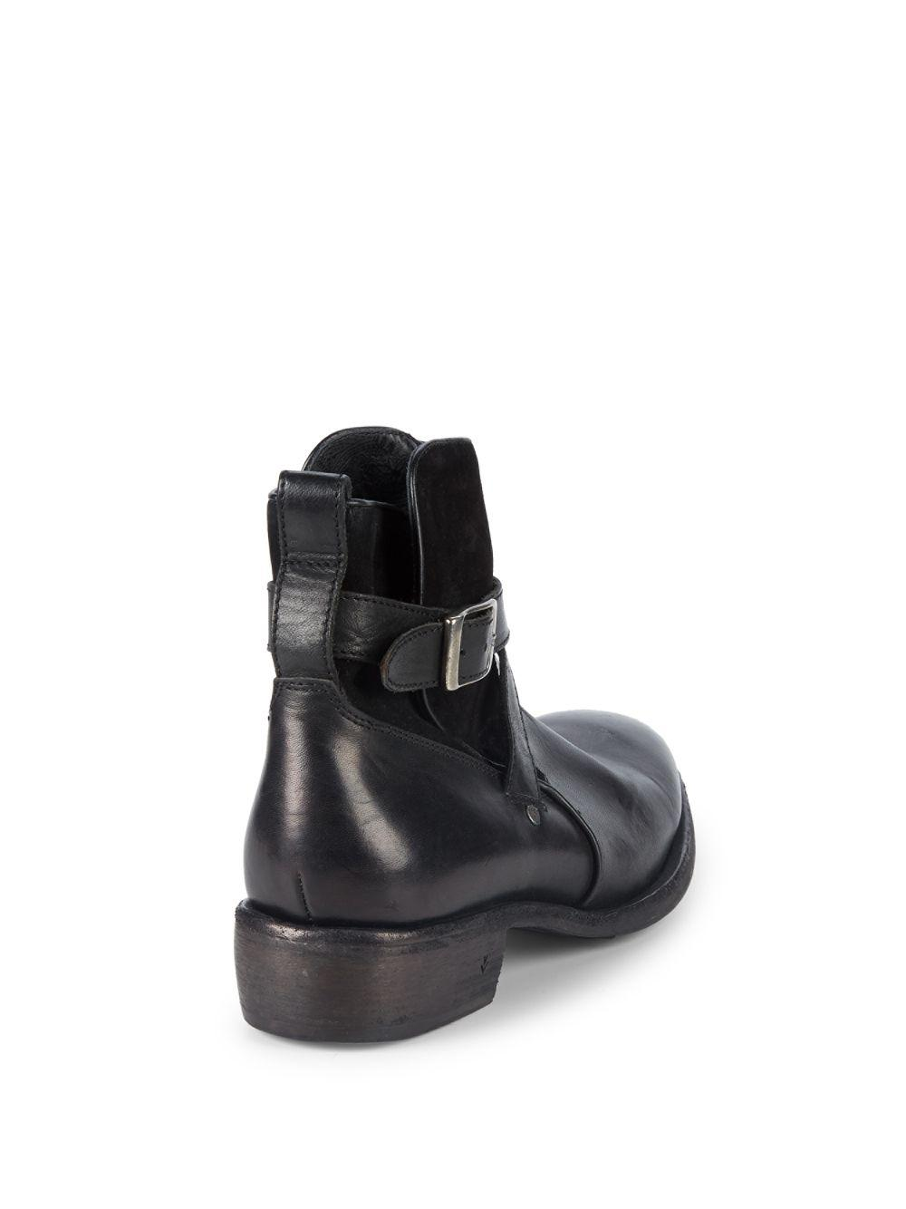 John Varvatos Keith Strap Leather Boots in Black