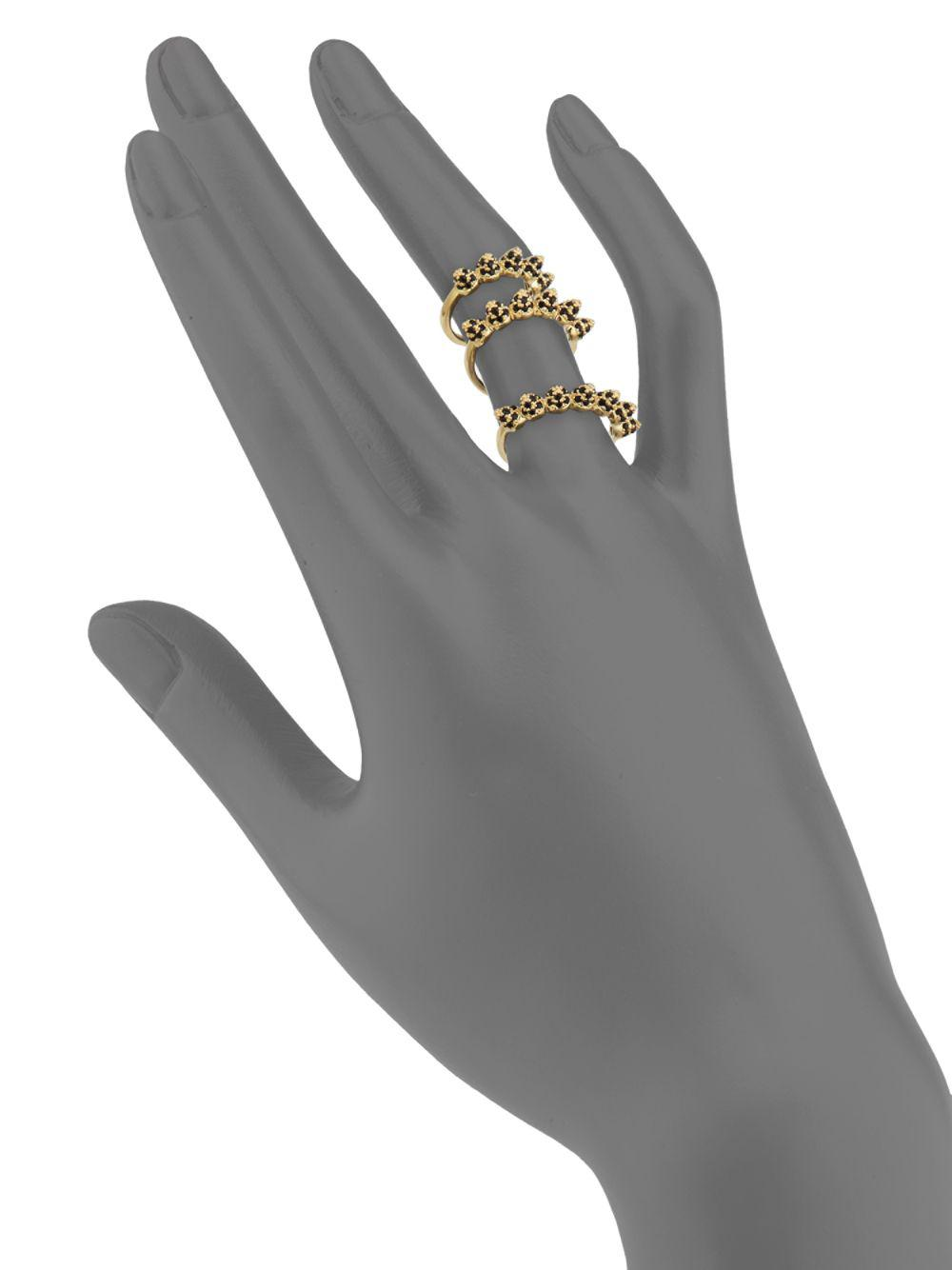 Eddie Borgo Pave Cone Band Stackable Ring Set in Yellow Gold (Metallic)