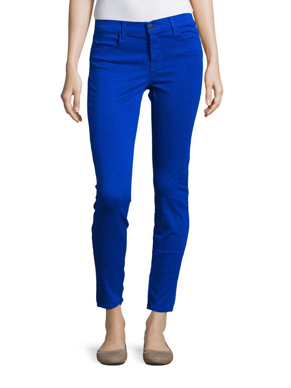 c7ced4f54cc J Brand Mid-rise Cropped Satin Jeans in Blue - Lyst