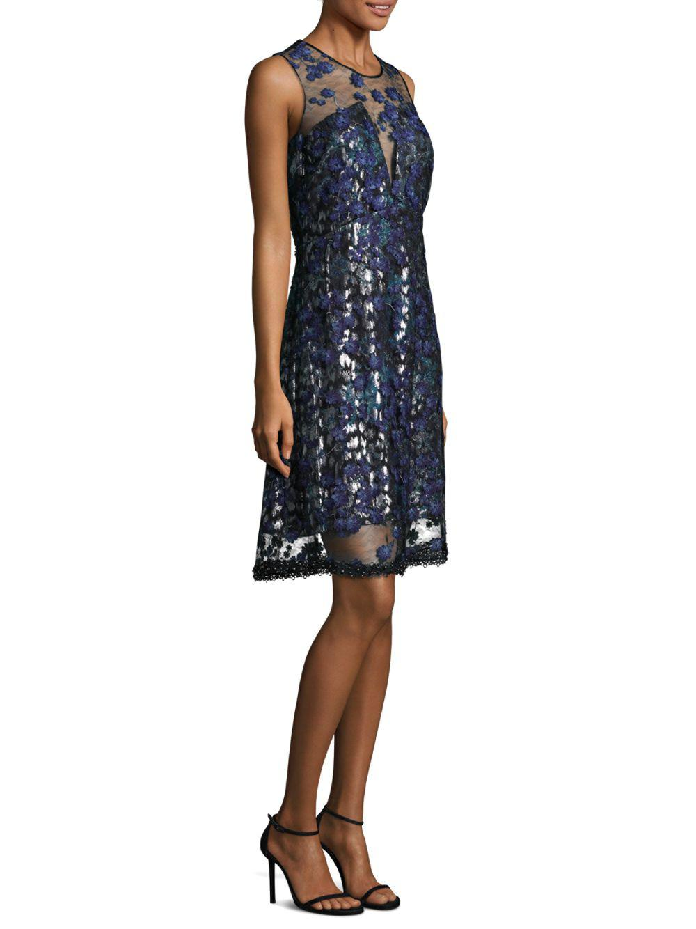34c6c24a8587 Elie Tahari Olive Embroidered Illusion Dress in Blue - Save 55% - Lyst