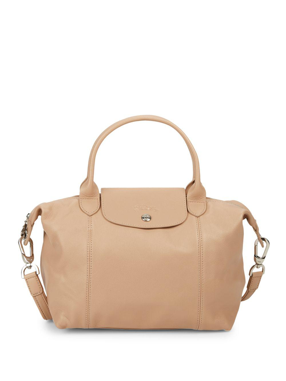 59414a307250 Longchamp Small Le Pliage Cuir Leather Satchel in Natural - Lyst