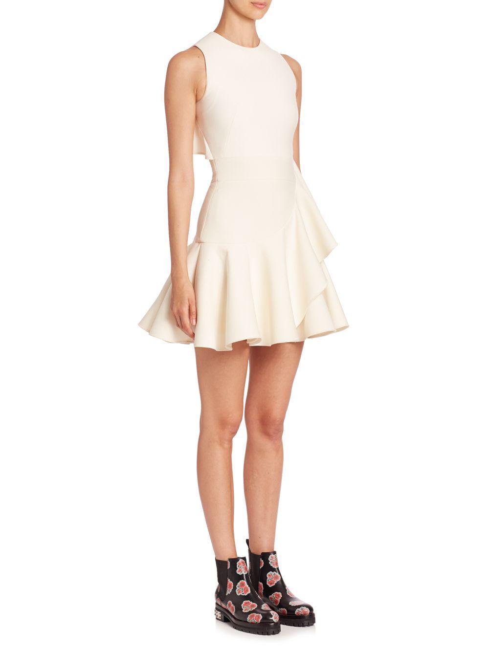 9370c028416ce Lyst - Alexander McQueen Scuba Asymmetrical Ruffle Dress in White