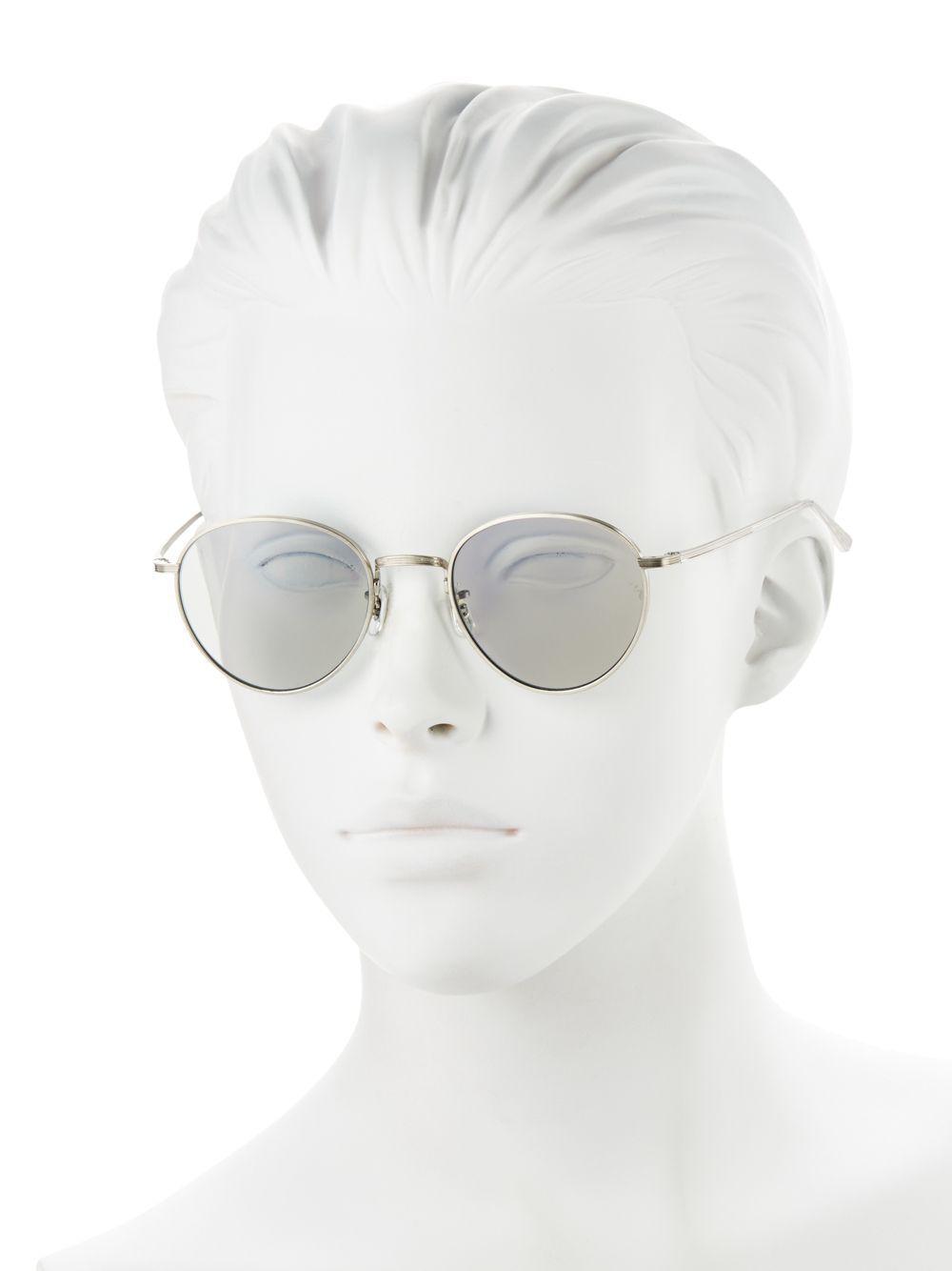f8c7aeadce7 Oliver Peoples - Metallic Brownstone 2 49mm Round Sunglasses - Lyst. View  fullscreen