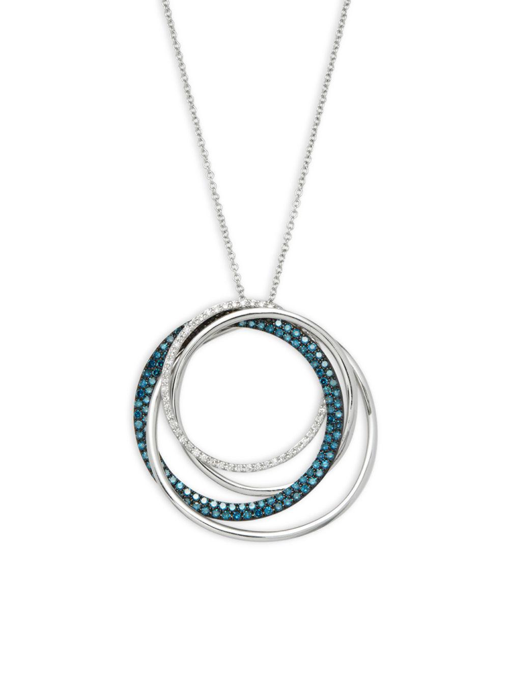 Effy 14k white gold blue diamond diamond pendant necklace in effy 14k white gold blue diamond diamond pendant necklace in metallic lyst aloadofball Image collections