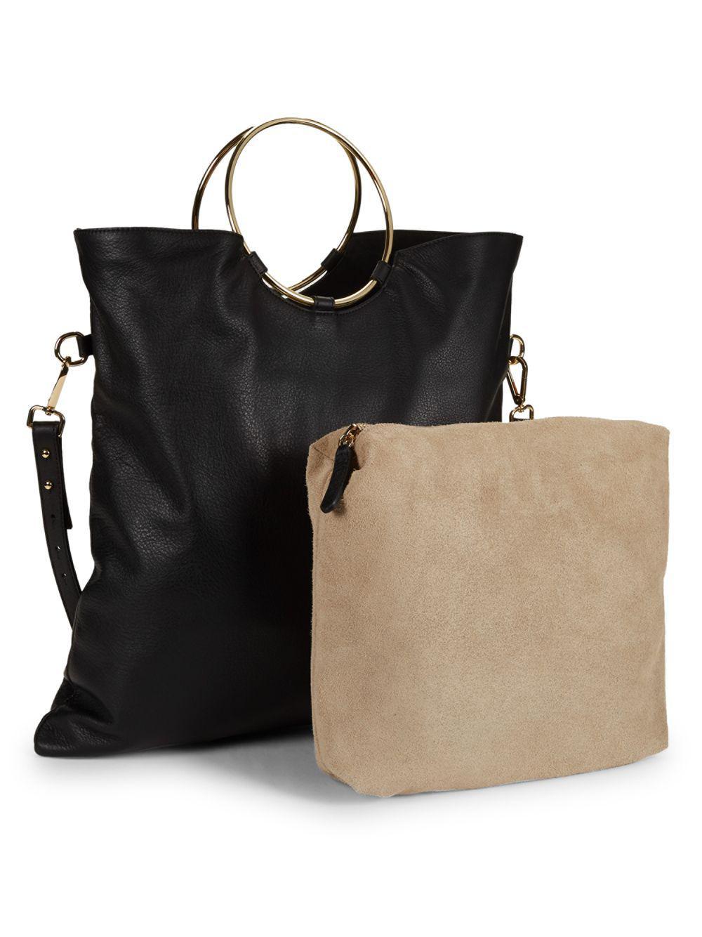 81417b049a Valentino By Mario Valentino - Black Logo Leather Top Handle Bag - Lyst.  View fullscreen