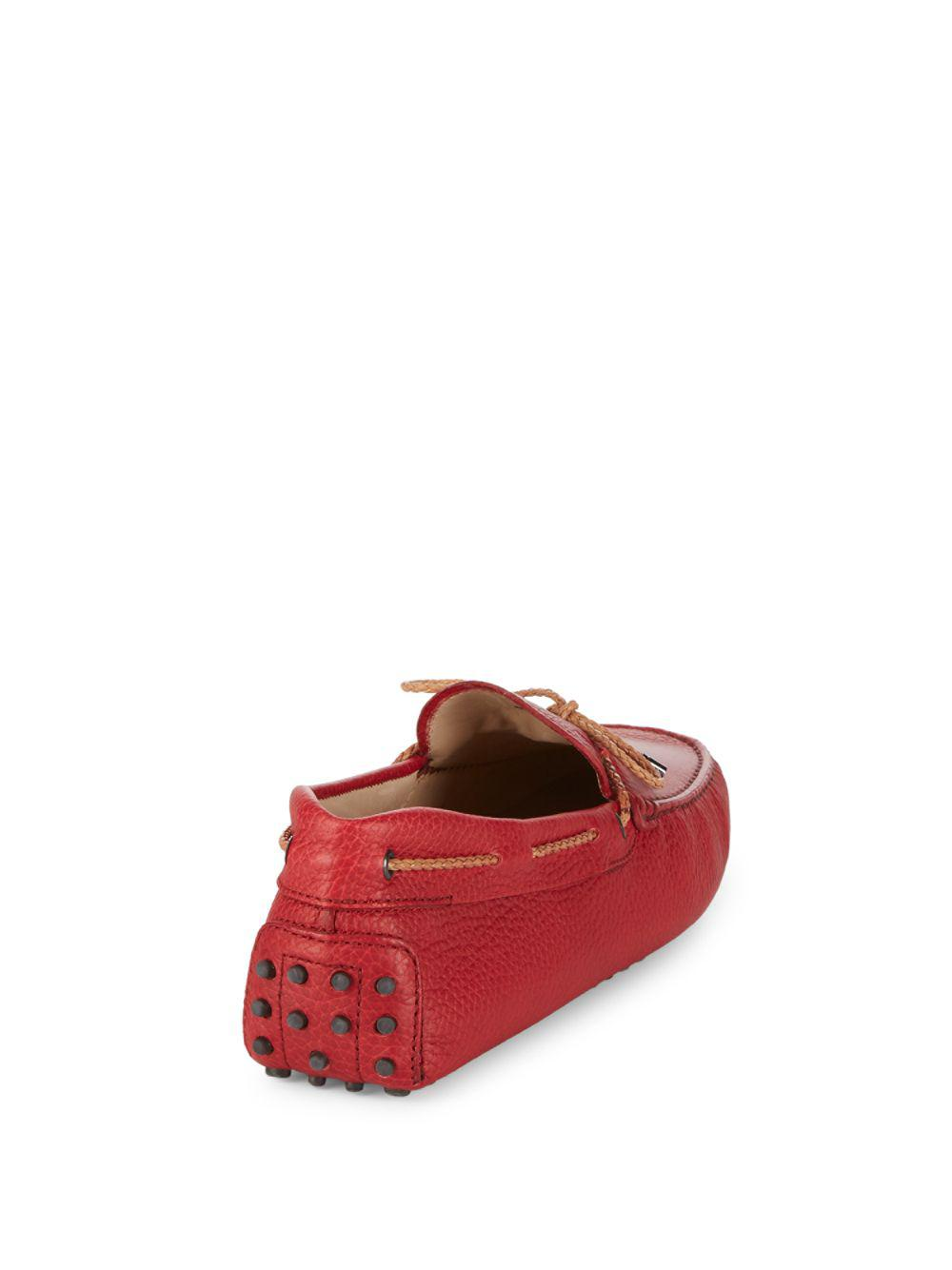 Tod's Slip-on Leather Drivers in Red for Men