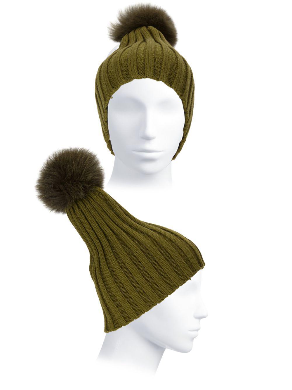 Adrienne Landau - Multicolor Dyed Fox Fur Pom Pom Ribbed Beanie - Lyst.  View fullscreen f1ece75e4ca2