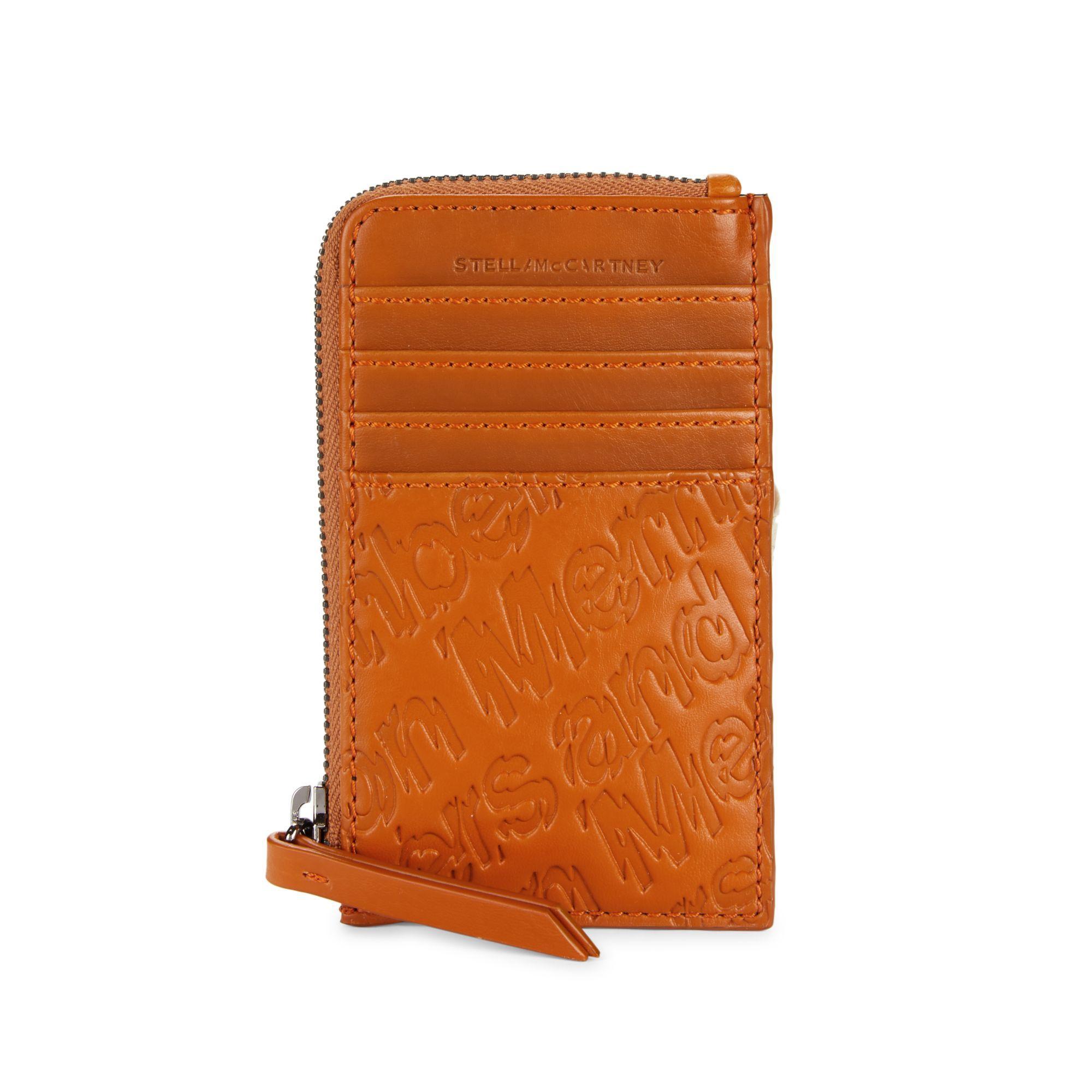 Stella McCartney Women's Orange Textured Leather Card Case
