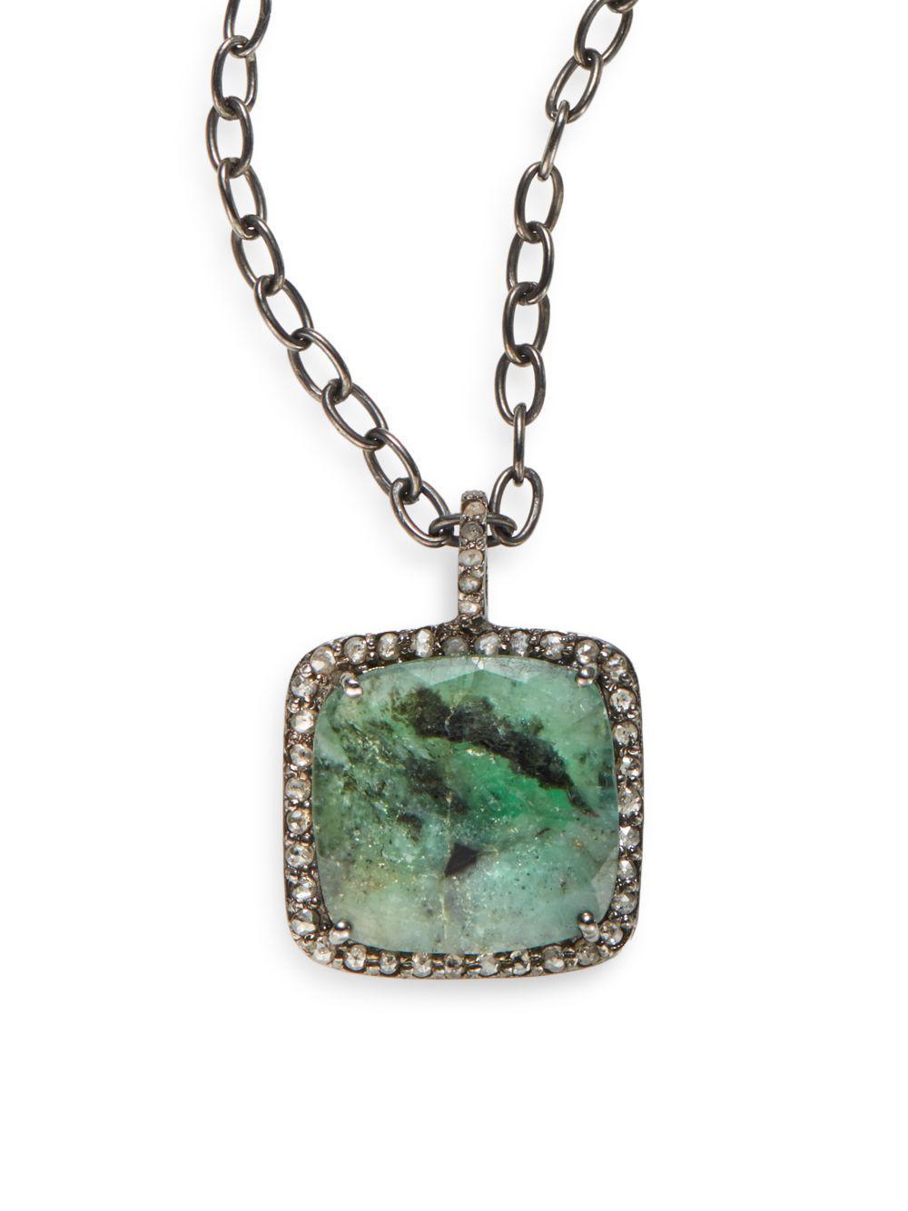 Bavna Emerald & Diamond Open Pendant Necklace CyaXL