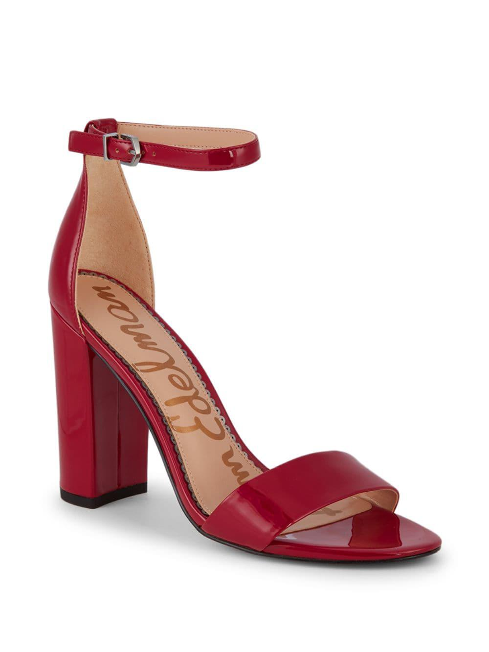 fc6d49ca13ff Lyst - Sam Edelman Yaro Patent Block-heel Sandals in Red