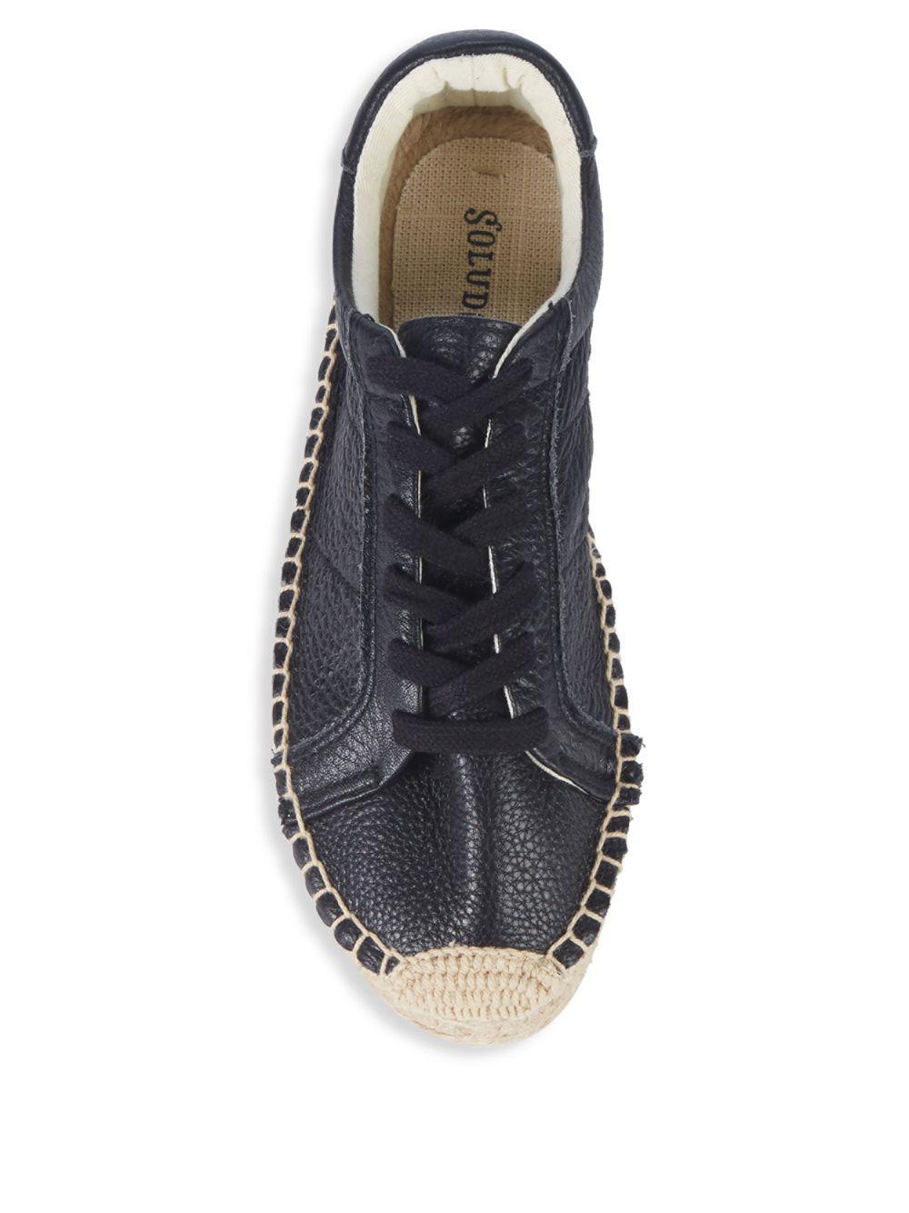 Soludos Leather Platform Tennis Espadrille Sneakers in Black