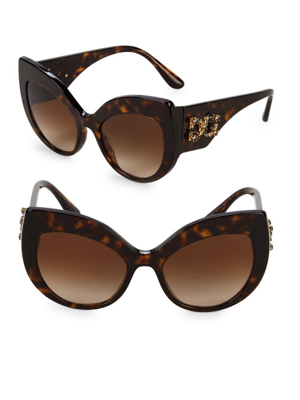 2658cae86fd Lyst - Dolce   Gabbana 55mm Cat Eye Sunglasses in Brown