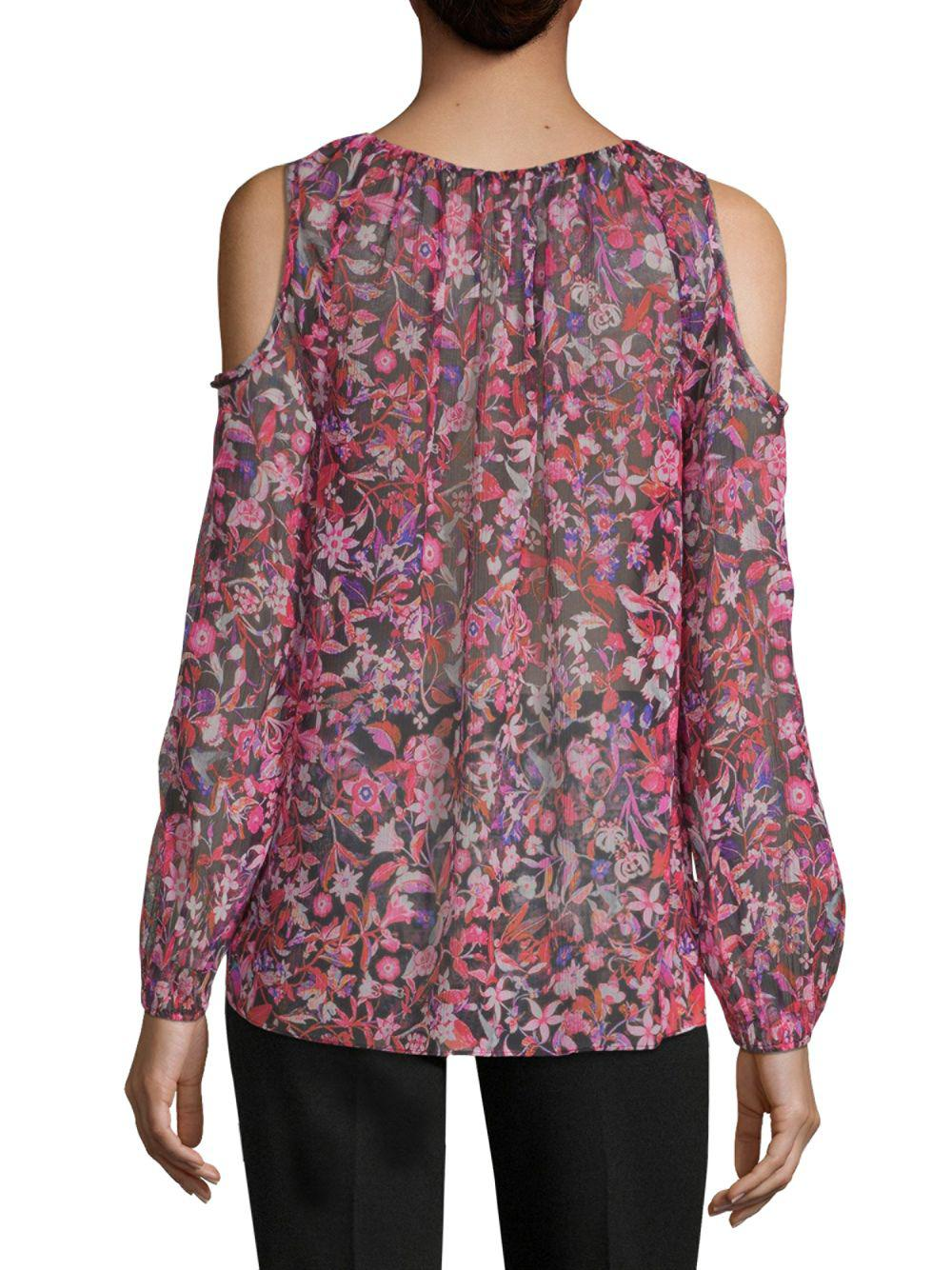 53f267ad1649ed Lyst - Elie Tahari Cathy Cold-shoulder Silk Blouse - Save 41.52542372881356%