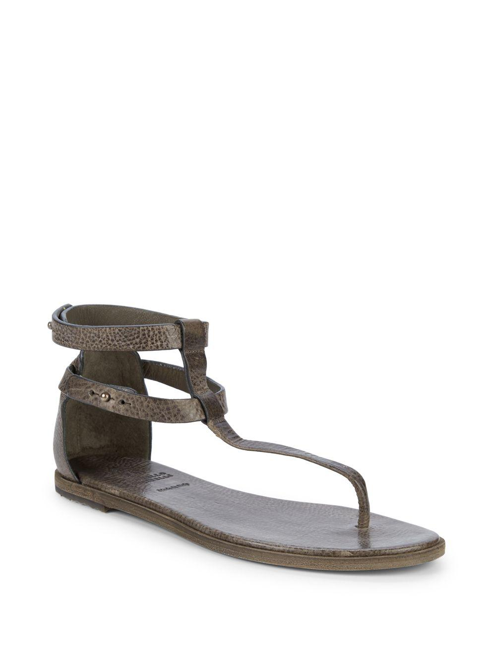 0f48cb16dae4ce Brunello Cucinelli Textured Leather Thong Sandals - Lyst