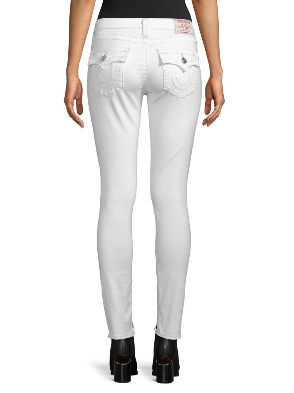 True Religion Denim Super-skinny Distressed Jeans in White