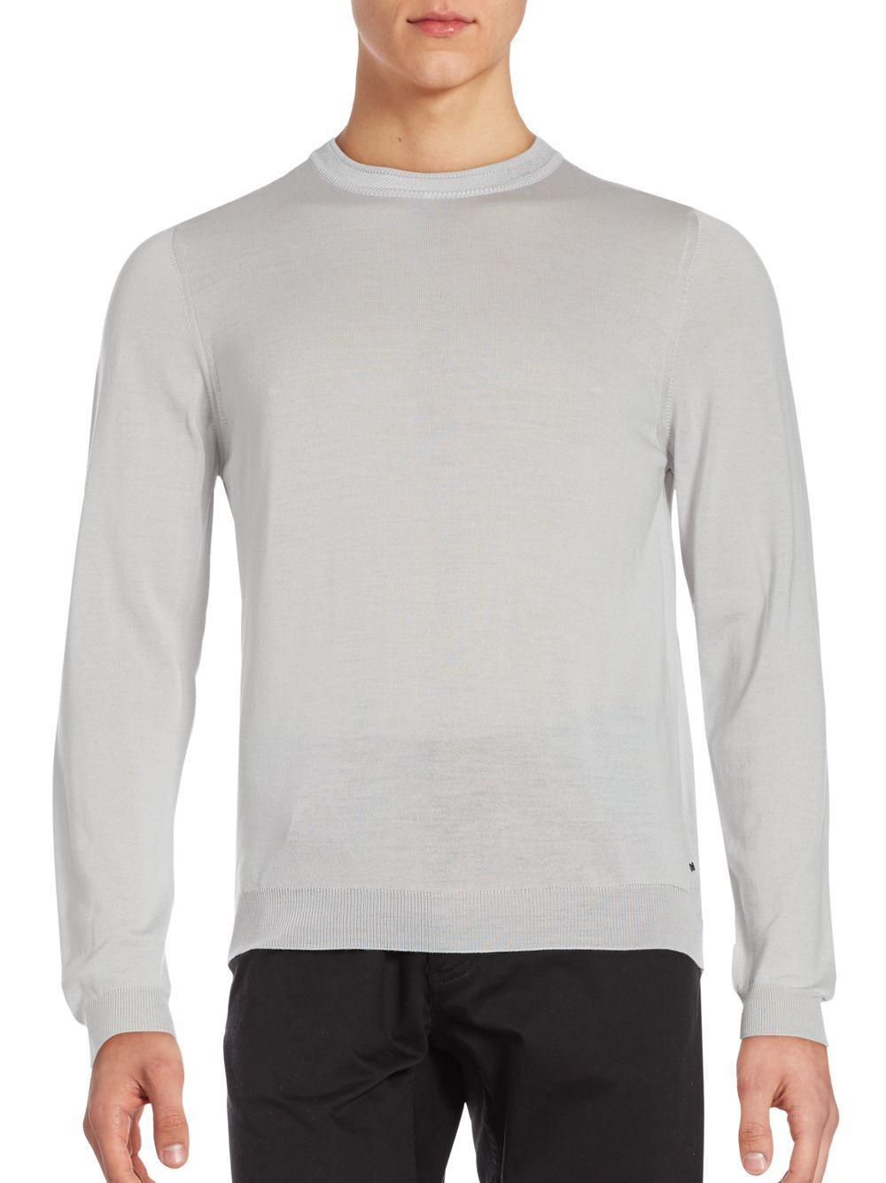 Lyst - Porsche Design Merino Wool Crewneck Sweater in Gray for Men 58a77d276