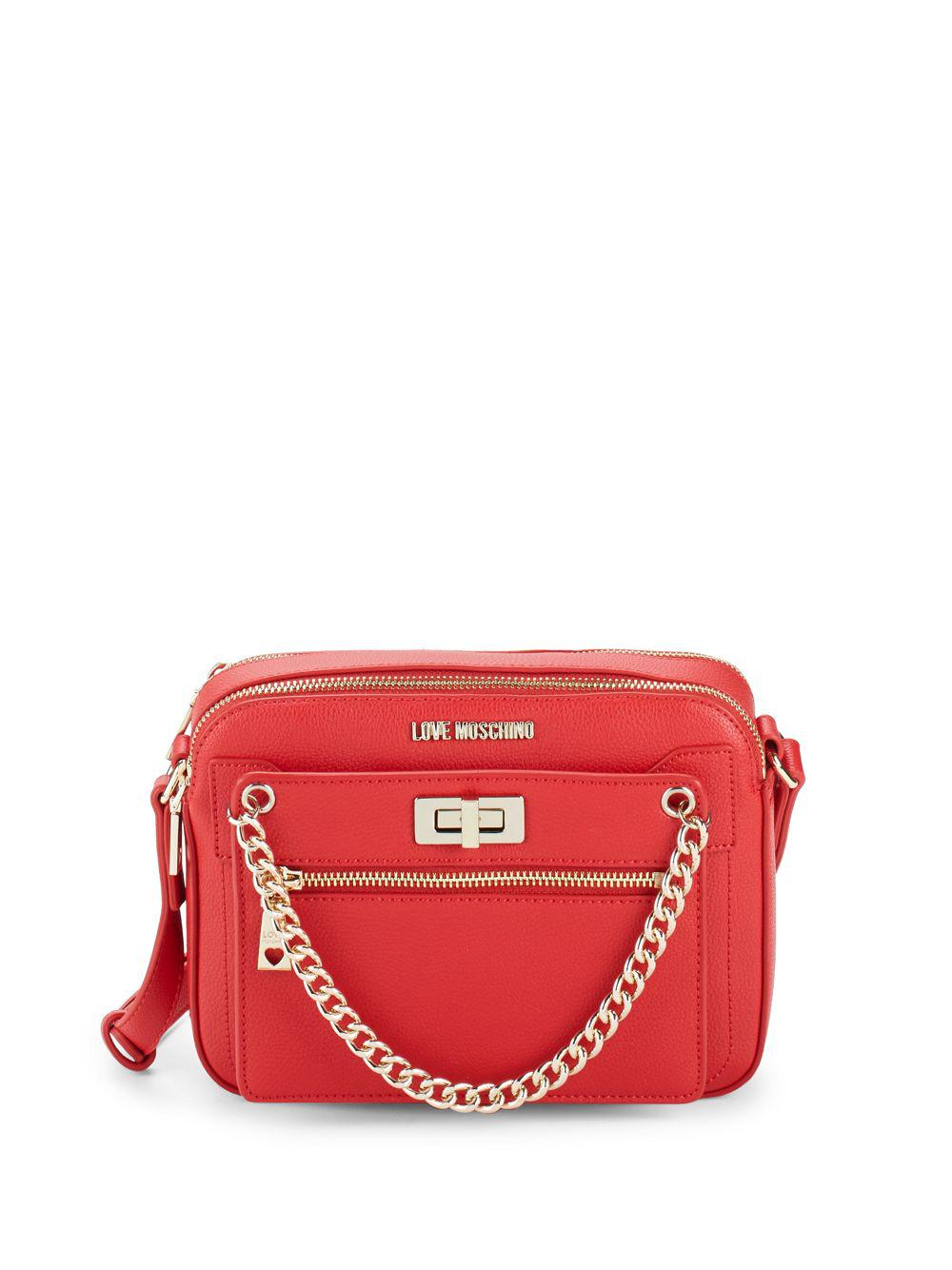 Lyst - Love Moschino Logo Faux Leather Crossbody Bag in Red 7a84ebab2d596