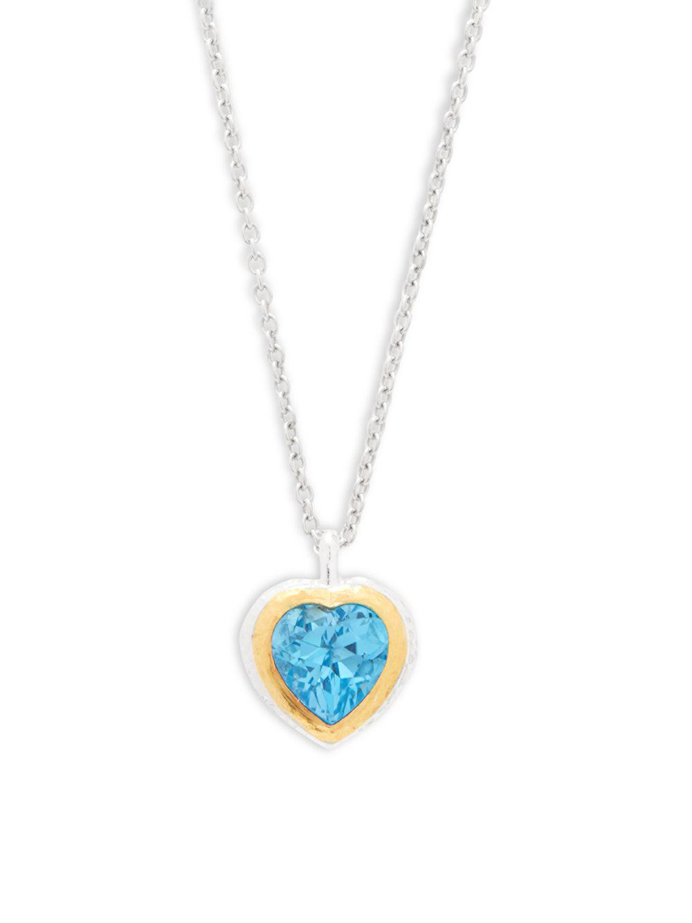 Gurhan Romance Swiss Blue Topaz Heart Pendant Necklace 4Whfw9Syl