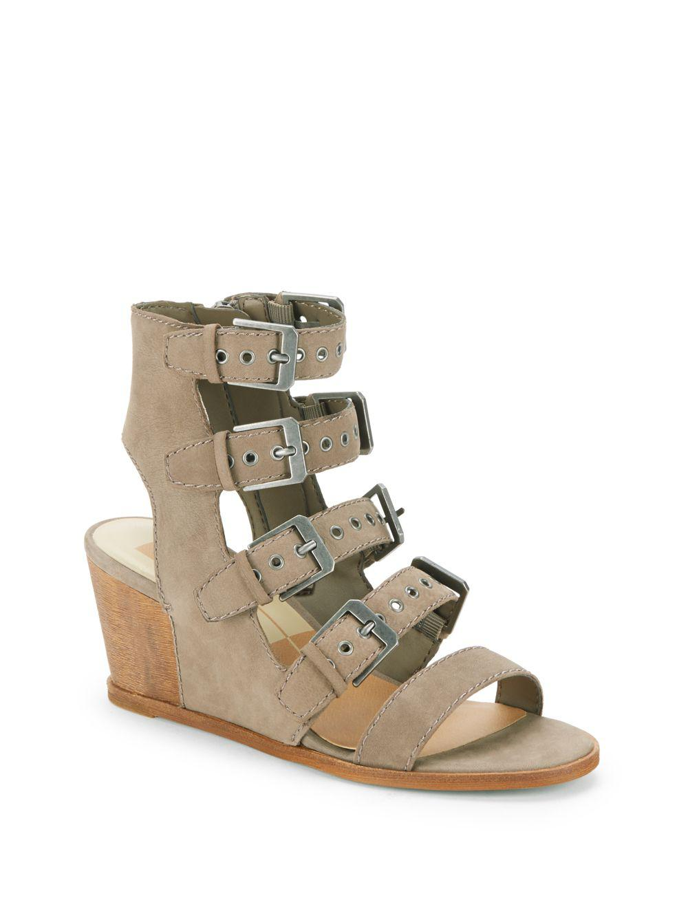 122ed0d7113076 Lyst - Dolce Vita Laken Leather Wedge Cage Sandals in Gray