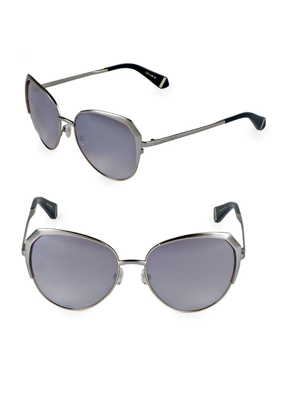 36f0c9d6b9f Lyst - Zac Posen Issa 57mm Oval Sunglasses in Metallic
