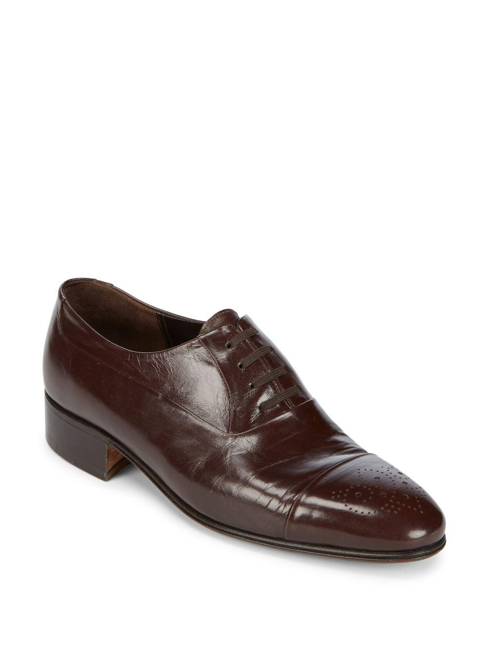 Artioli Leather Cap Toe Dress Shoes In Brown For Men Lyst