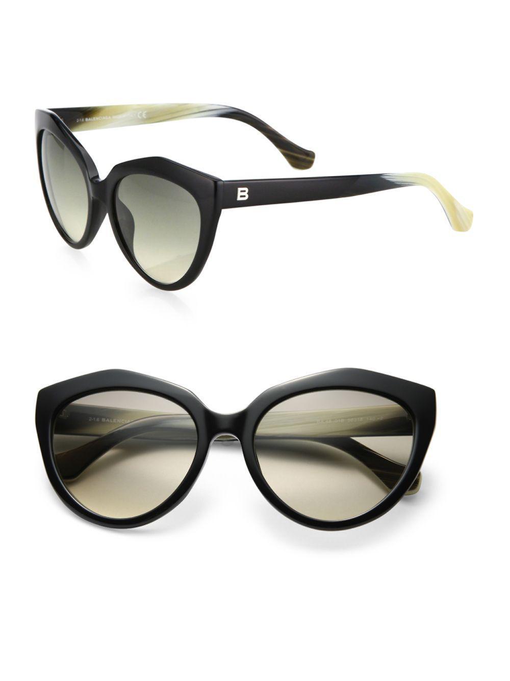 be44ee96b8 Balenciaga 56mm Acetate Cat s-eye Sunglasses in Black for Men - Lyst