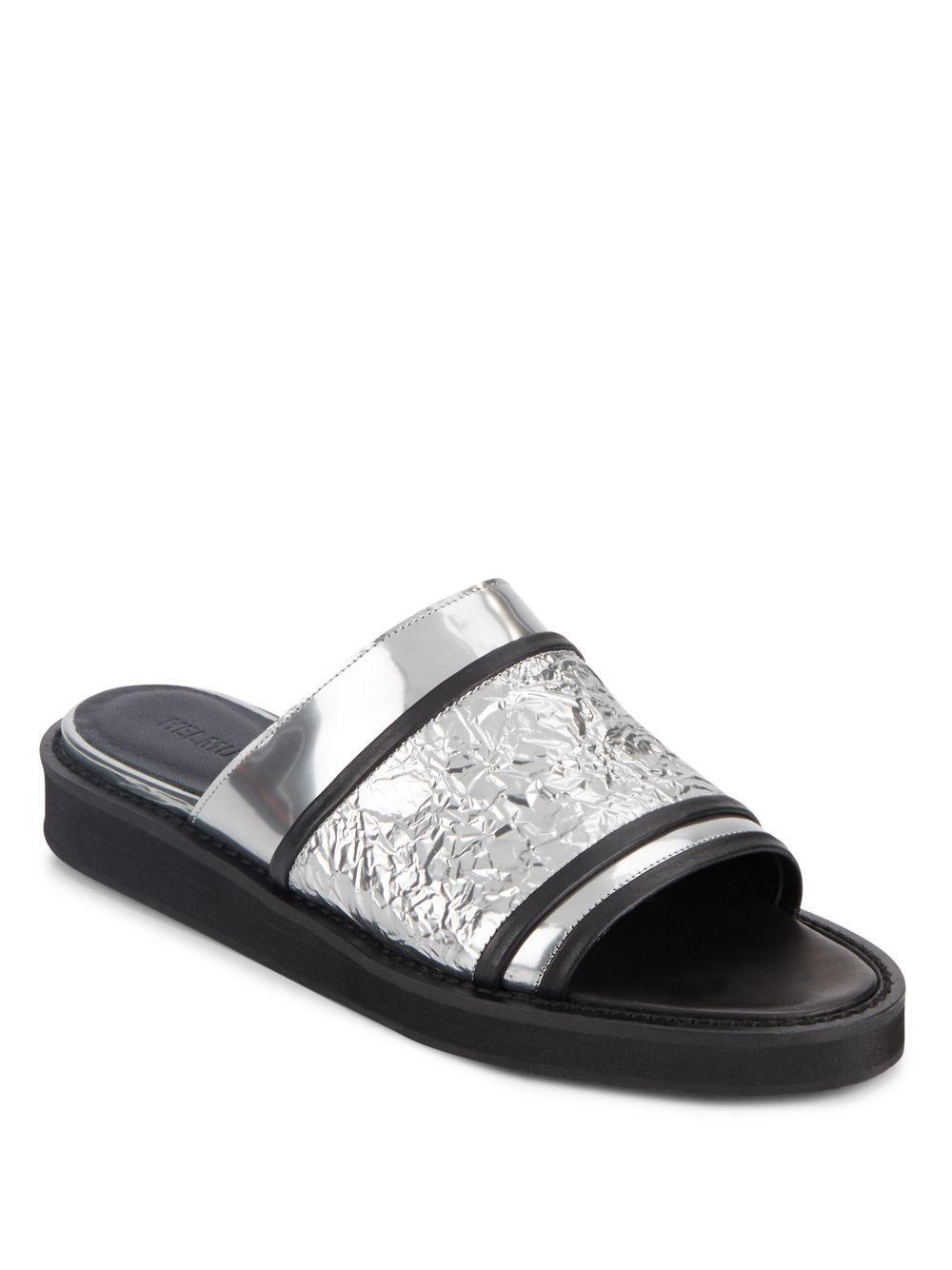 Helmut Lang Metallic Leather Sandals sale eastbay 3g4G8TYV