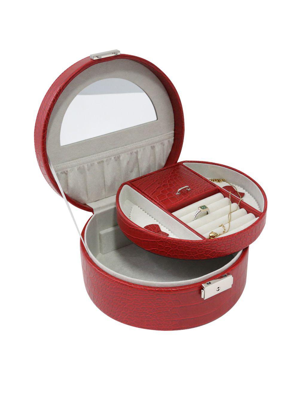 Round Leatherette Jewelry Box Lyst View Fullscreen