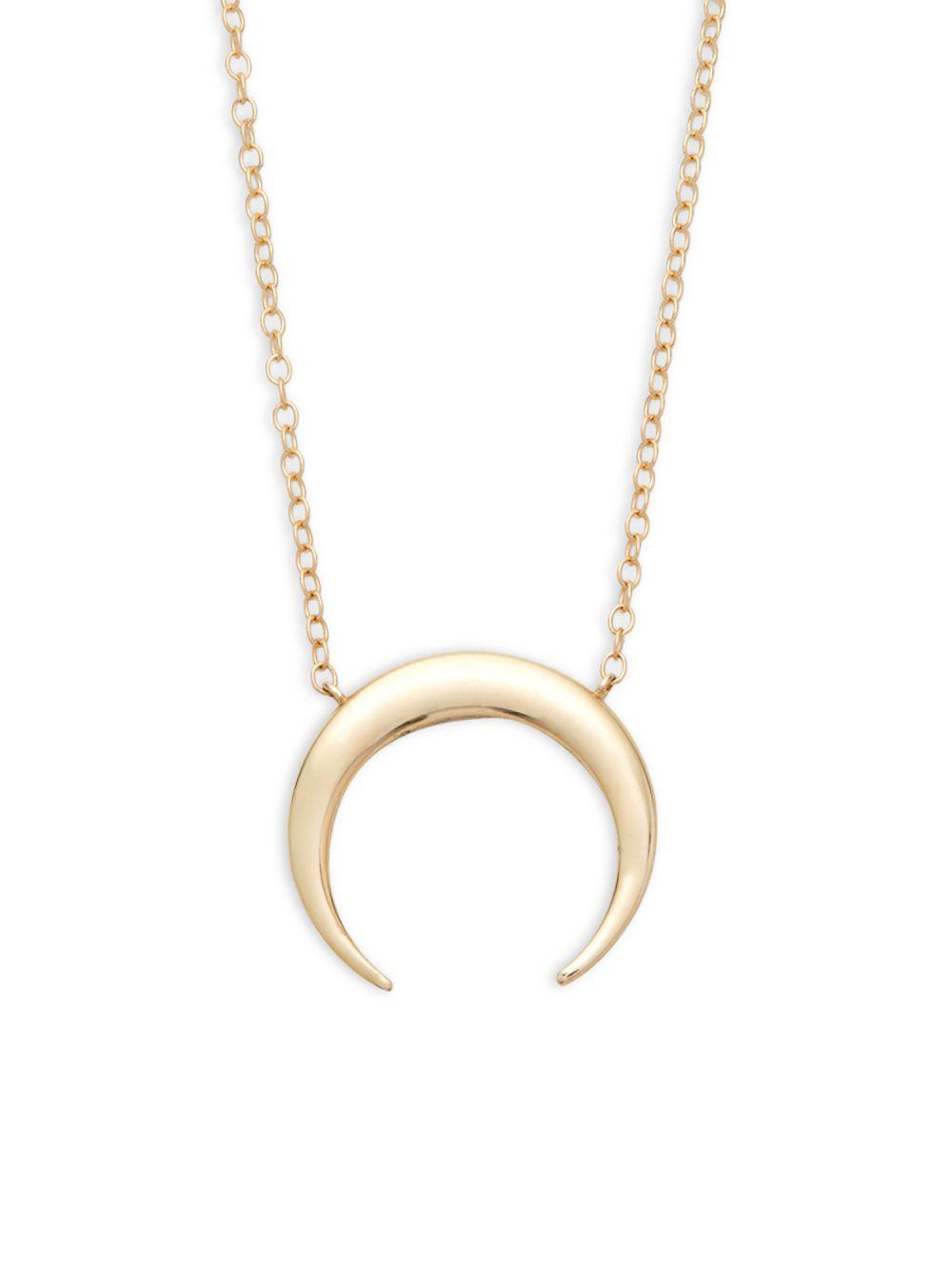 Lyst saks fifth avenue 14k gold half moon pendant necklace in saks fifth avenue womens metallic 14k gold half moon pendant necklace aloadofball Images