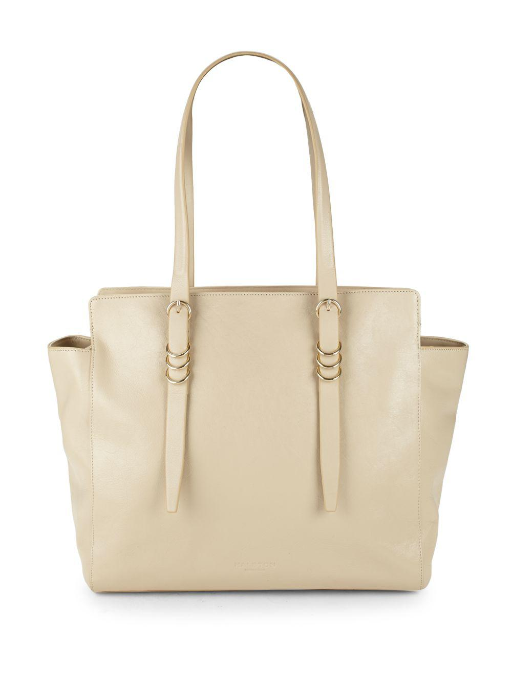 Lyst - Halston Large Leather Zip Tote in Natural - Save 3% 52bf4c830a939