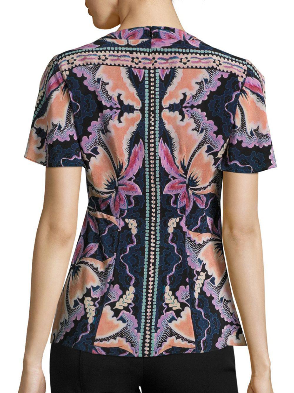 61a33ecee85f13 Nanette Lepore - Black Venus Floral-print Silk Top - Lyst. View fullscreen