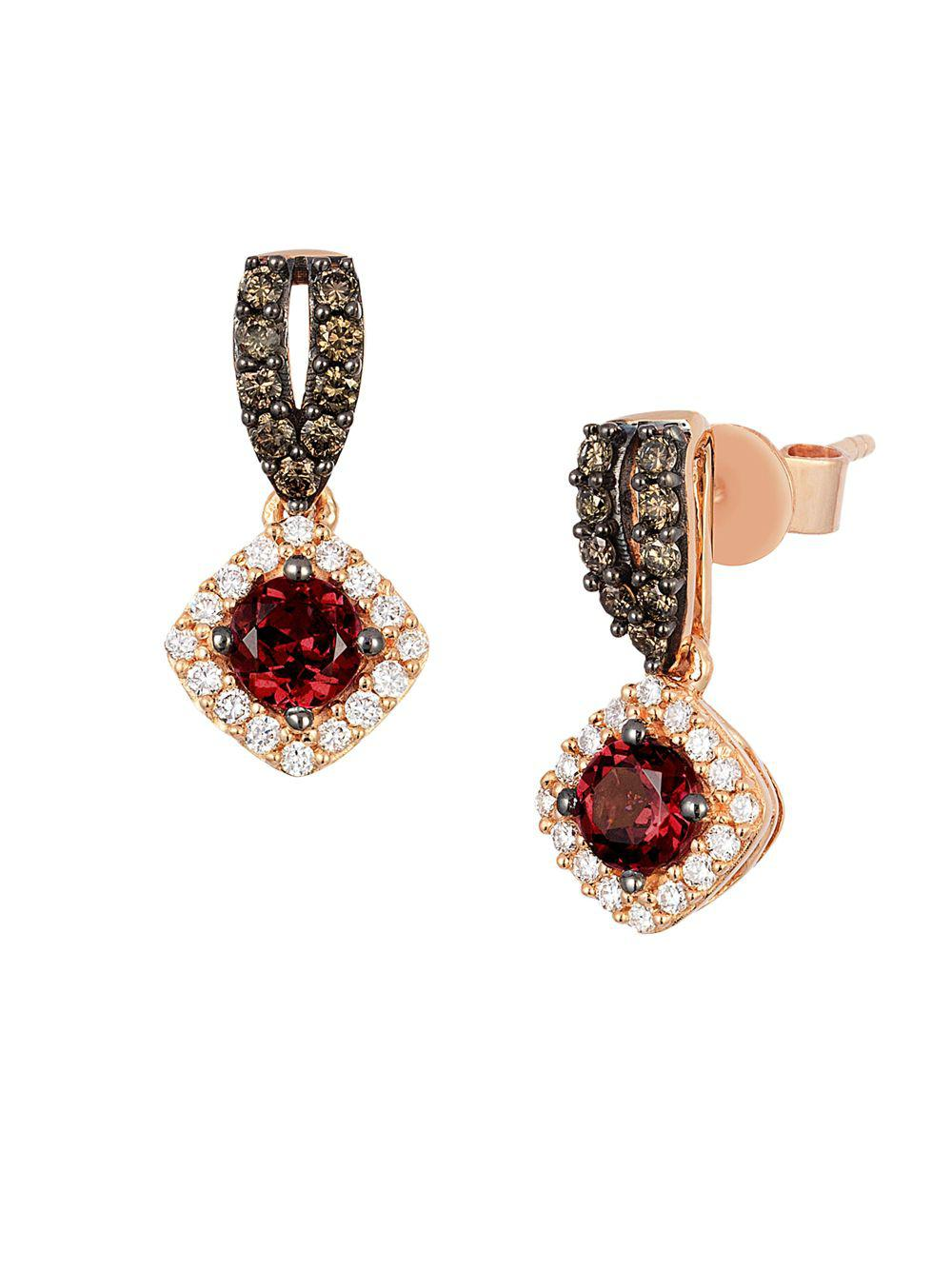 Le Vian Women S Metallic 14k Strawberry Gold Raspberry Rhodolite Vanilla Diamonds Chocolate Square Drop Earrings