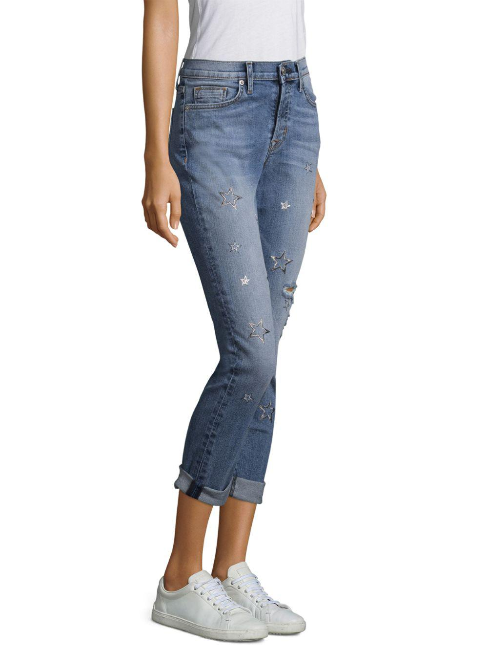 Hudson Jeans Denim Riley Star Straight-leg Ankle Jeans in Blue