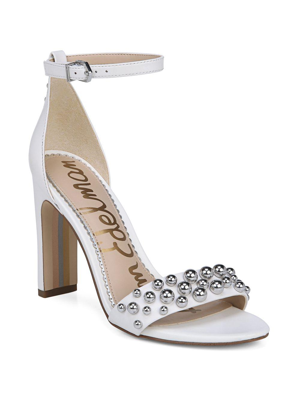 2299b975998 Lyst - Sam Edelman Yoshi Studded Ankle Strap Sandal in White - Save 47%