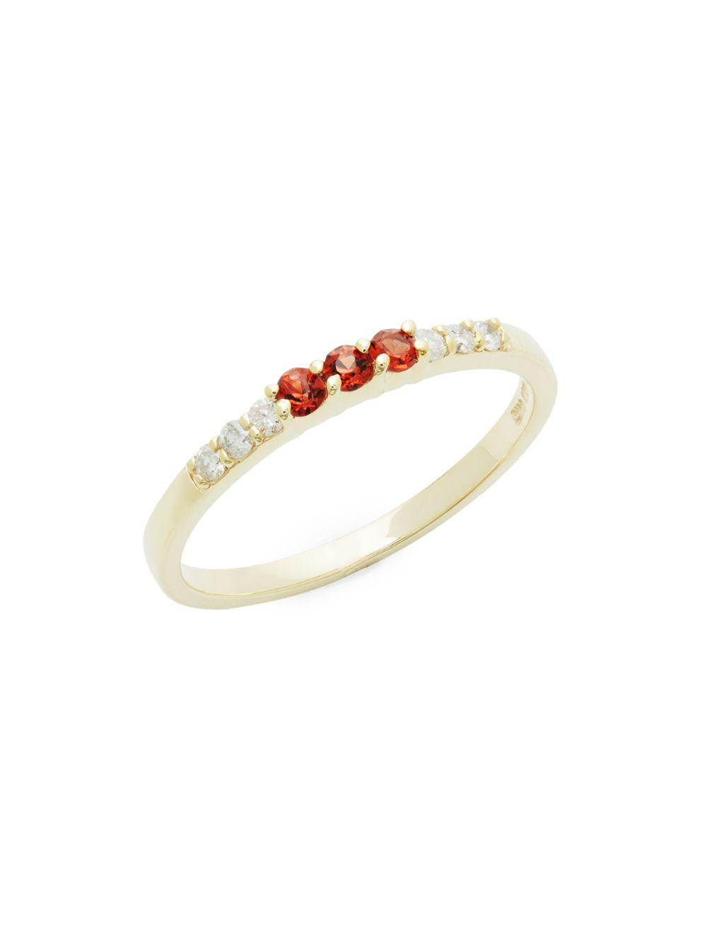 ad9f30777765a Lyst - Danni Diamond, Garnet And 14k Yellow Gold Ring, 0.15 Tcw in ...