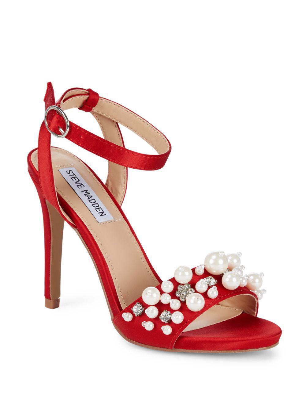 Lyst - Steve Madden Dayanara Satin Stiletto Heels in Red