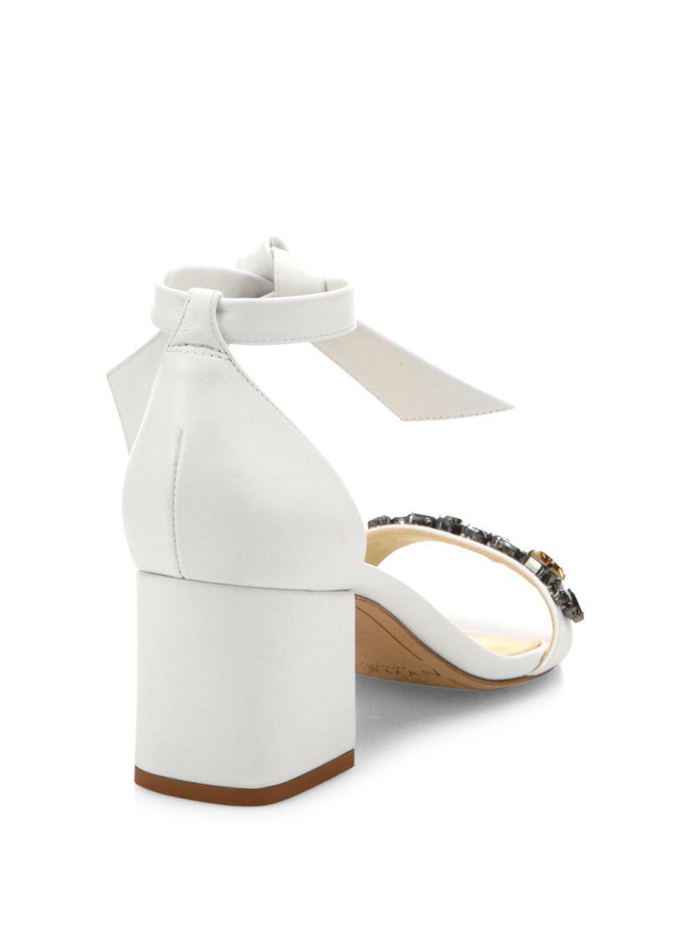 549df83e639 Lyst - Alexandre Birman Clarita Jeweled Leather Block Heel Sandals ...