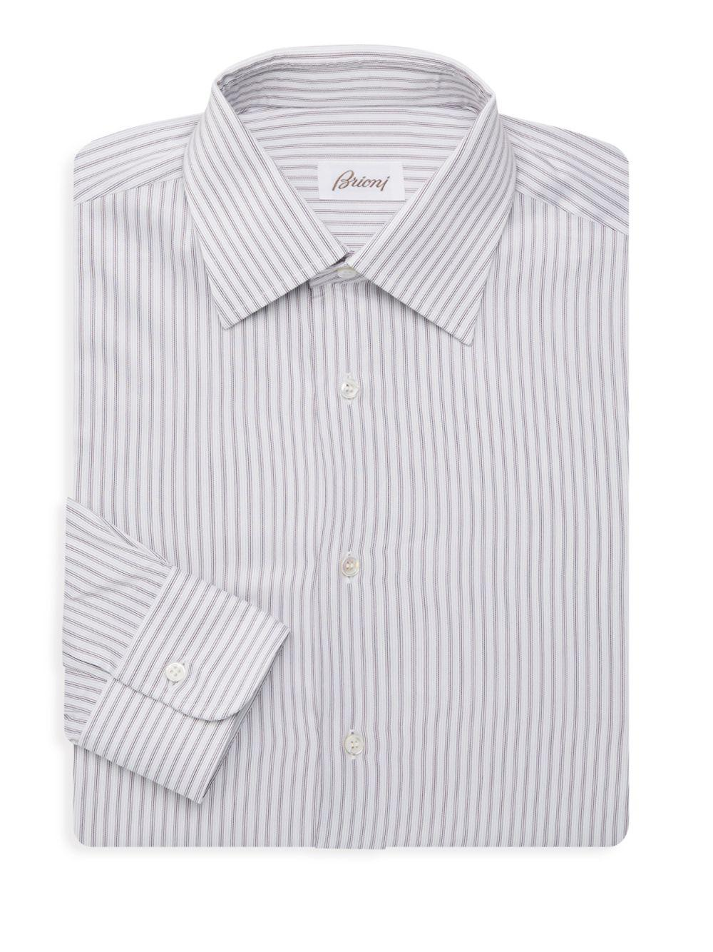 Lyst Brioni Striped Dress Shirt In Red For Men