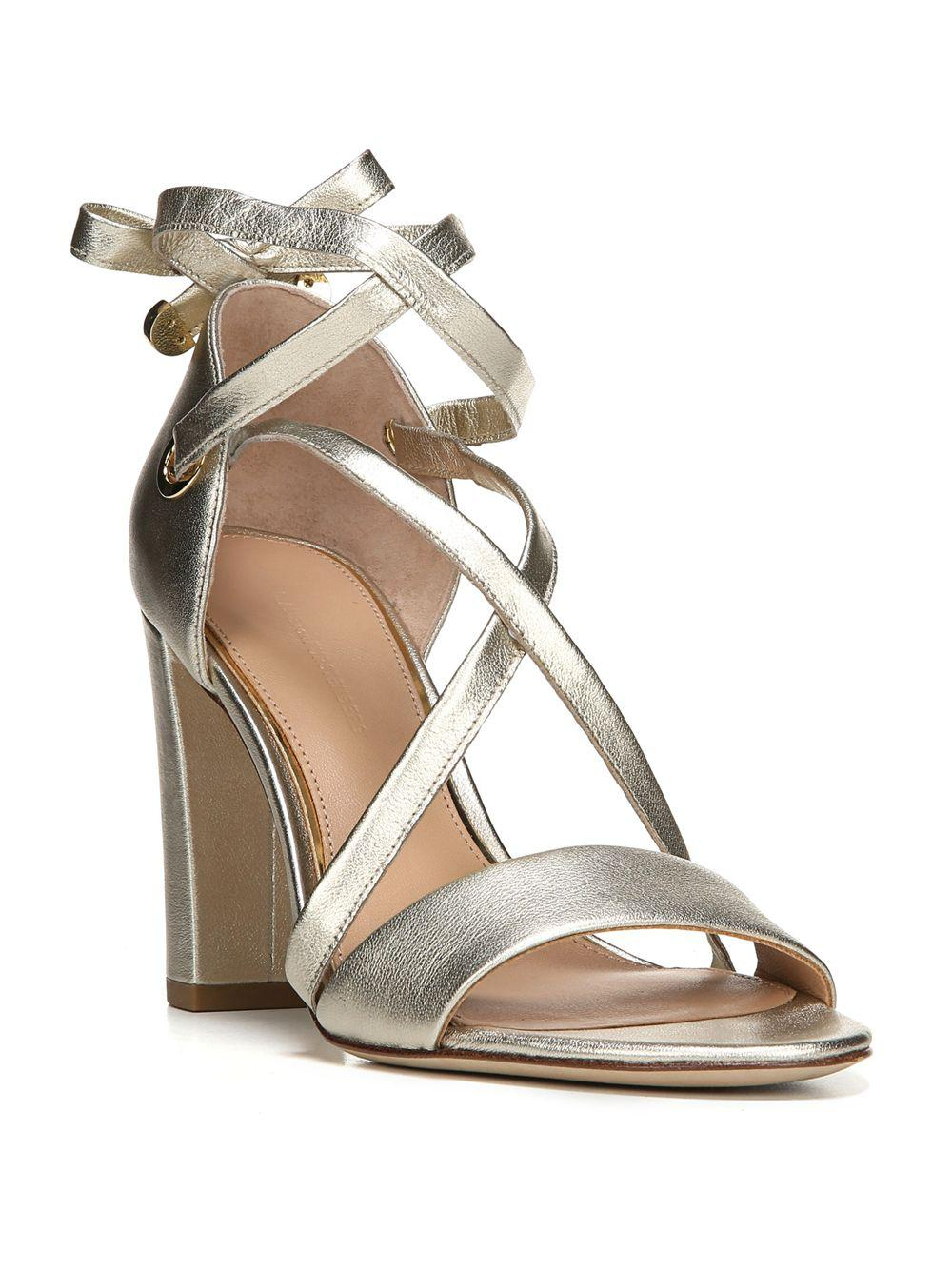 Lyst - Diane Von Furstenberg Calabar Lace-up Metallic Leather Block-heel  Sandals in Metallic - Save 62%