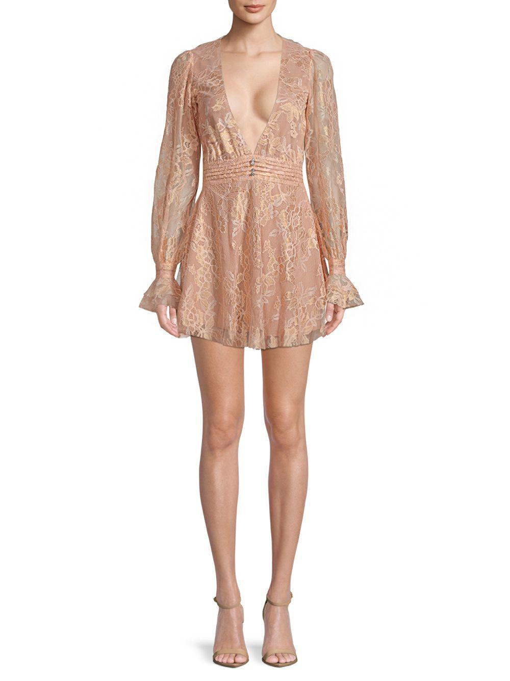 For Love Lemons Modern Lace Mini Dress In Rose Gold Pink Lyst