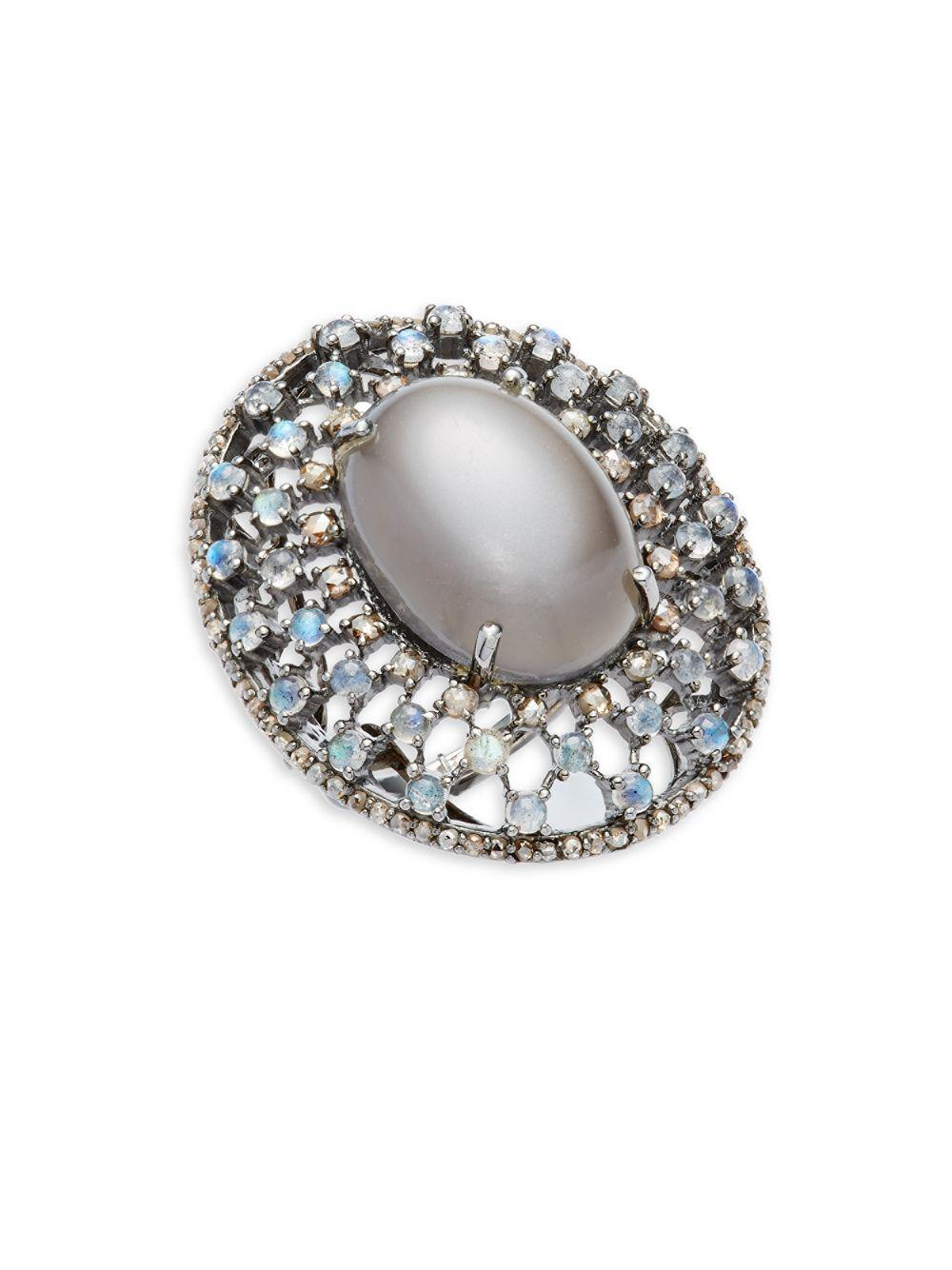 Bavna Moonstone & Diamond Kite Ring, Size 7