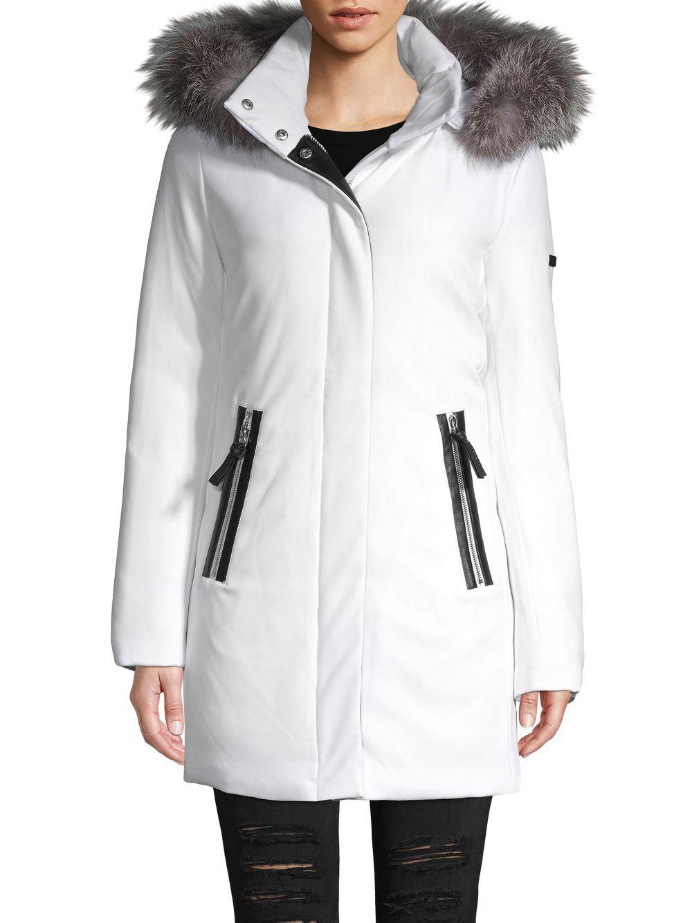2fa41d986eac Lyst - 10 Crosby Derek Lam Fox Fur-trimmed Down Parka Coat in White
