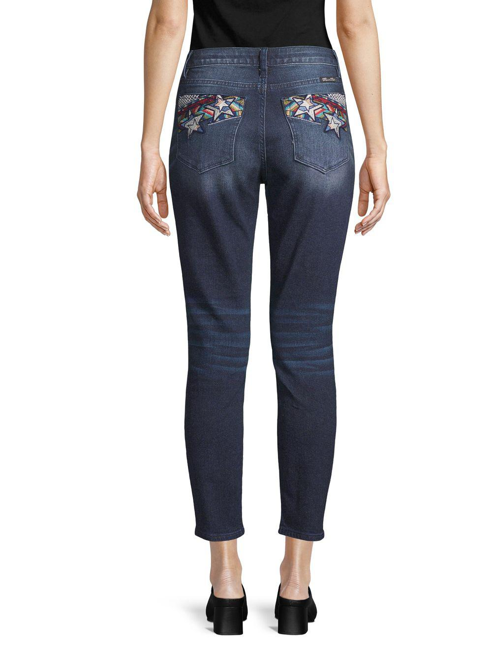 Miss Me Denim Embroidered Skinny Ankle Jeans in Blue