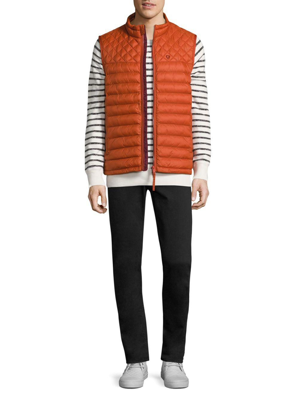 Strellson Quilted Zip-front Vest in Orange for Men | Lyst : quilted zip front vest - Adamdwight.com
