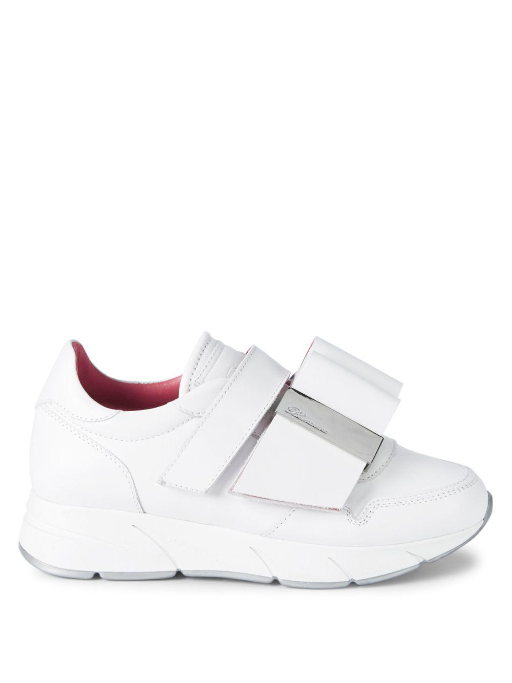 Blumarine Strap-front Leather Sneakers in White