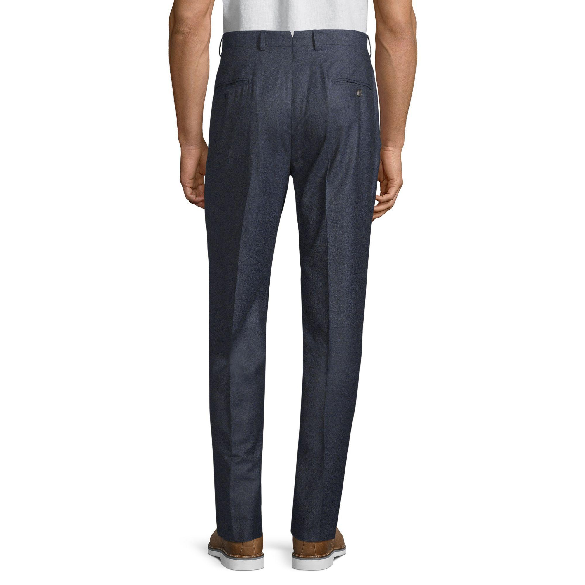 Hickey Freeman Flat-front Wool Trousers in Navy (Blue) for Men