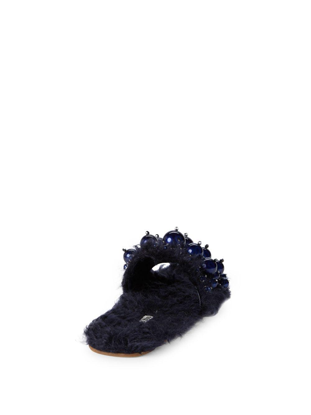 981b58488617a Lyst - Miu Miu Faux Fur Embellished Slides in Blue - Save 10%