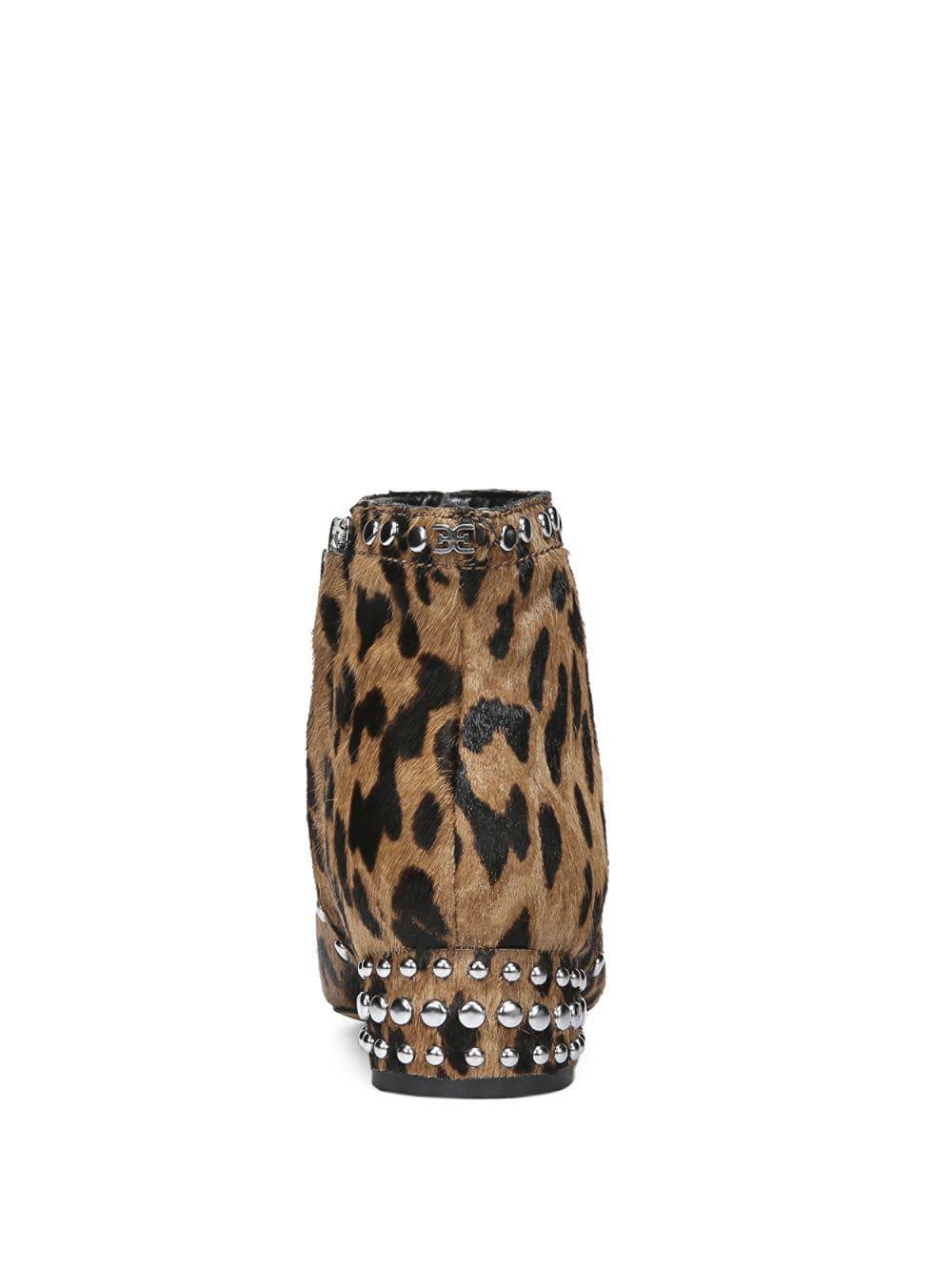 ab79bb7ca Sam Edelman Lorin Leopard Print Calf Hair Ankle Boots in Brown - Save 11% -  Lyst