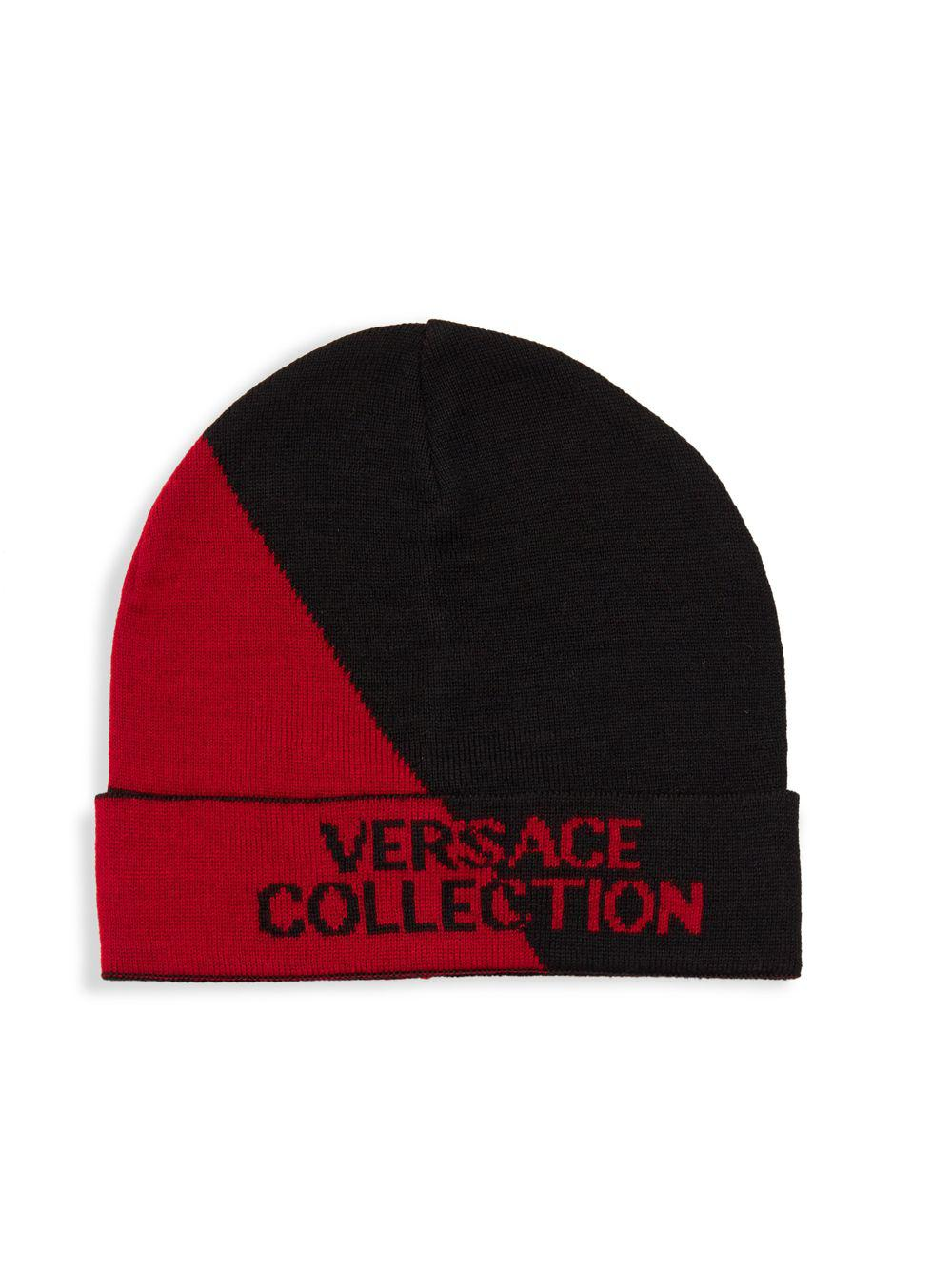 bf8f716bc Versace Two-tone Logo Beanie in Red for Men - Lyst