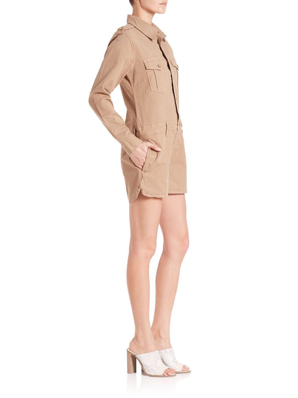 d17c764ea851 Lyst - FRAME Citadel Khaki Short Jumpsuit in Natural
